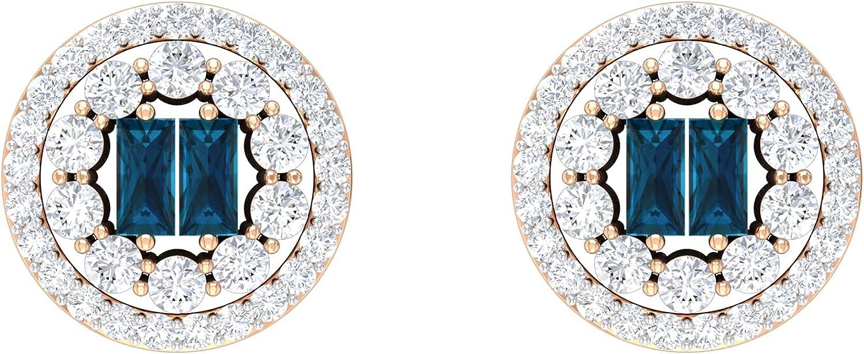 1.5X3 MM Baguette London Blue Topaz and Diamond Halo Vintage Stud Earrings (AAA Quality),14K Yellow Gold,London Blue Topaz