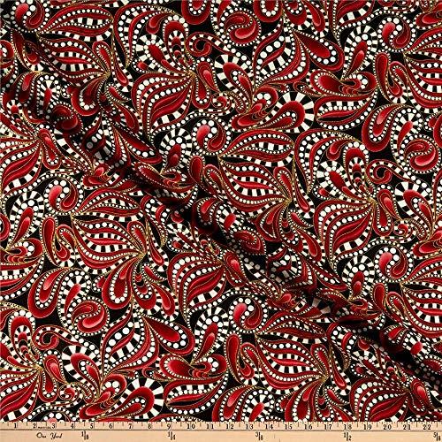 Benartex Cat-I-tude Christmas Paisley Tonal Swirl Red, Fabric by the Yard