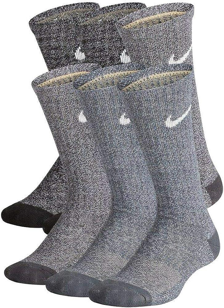 Nike Boy`s Performance Cushioned Crew Training Socks 6 Packs