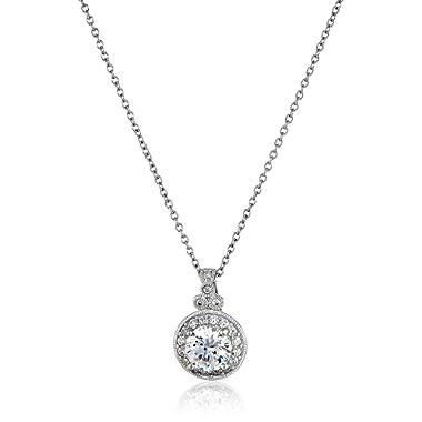 Platinum-Plated Sterling Silver Swarovski Zirconia Round-Cut Antique Pendant Necklace, 18
