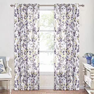 KGORGE Privacy Sheer Window Curtains - Home Decorating Voile Curtains, American Country Floral All-Season Curtains for Living Room Sliding Glass Door,Set of 2, 52 inch x 84 inch, Grey Yellow