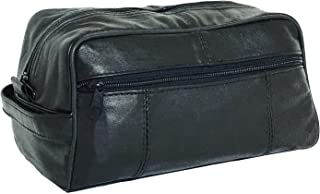 Lifestyle Banquet Leather Dopp Kit for Men (Black) | Travel Hygiene Bag with Multiple Compartments for Shaving or Grooming...