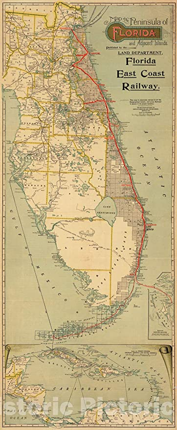 1878 Map of Florida Indian Military Rail Roads Canals Wall Art Poster Print