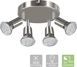 Modern Round 4-Light Track Lighting Fixtures, 4 Way GU10 Ceiling Spotlight (ø180mm), Flexibly Rotatable Light Head, Ceiling Track Light, Matte Nickel (GU10 Socket,Bulbs are not Included)