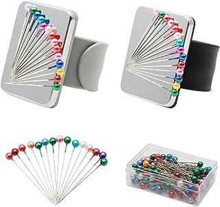 2 Piezas Alfiletero de Costura Magnética, Cojín de Aguja Magnético de Pulsera Soporte de Alfiletero para Incluye 100 Cabeza alfileres,Pulsera de Silicona
