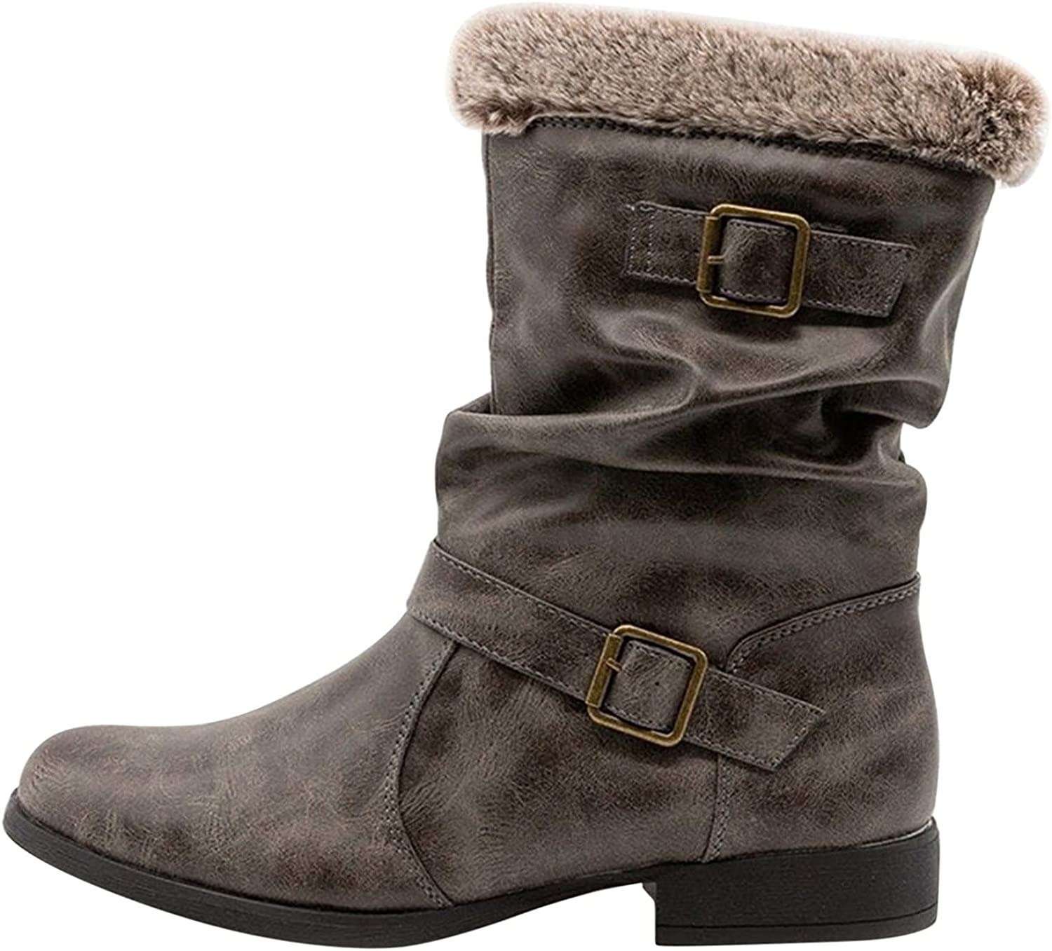 Winter Boots for Women Trendy Soft Wedge Mid Tube Plush Cotton B