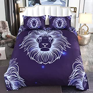 llwannr Duvet coversLuxury3d Lion Pattern Duvet Cover Set with Pillow Covers Galaxy European Line Animal Bedding Set AU/US/EU/UK Twin Size Bed Set