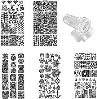 Lurrose 7 piezas kit de placas de estampado de uñas con 1 estampador 1 raspador plantillas de estampado de uñas diy hallow...