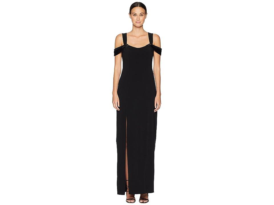 Halston Heritage Cold Shoulder Open Back Neck Fitted Crepe Gown (Black) Women