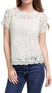 Women's Scalloped Trim See Through Semi Sheer Floral Lace Top