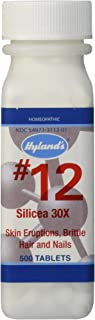 Acne and Blackhead Treatment, Hair Growth Supplement, Nail Growth and Strengthener, Homeopathic Remedy by Hyland's, No. 12 Cell Salt Silicea 30X Tablets, 1000 Count