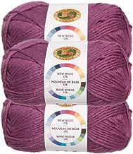 Lion Brand (3 Pack) New Basic Acrylic & Wool Soft Plum Purple Yarn for Knitting Crocheting Medium #4
