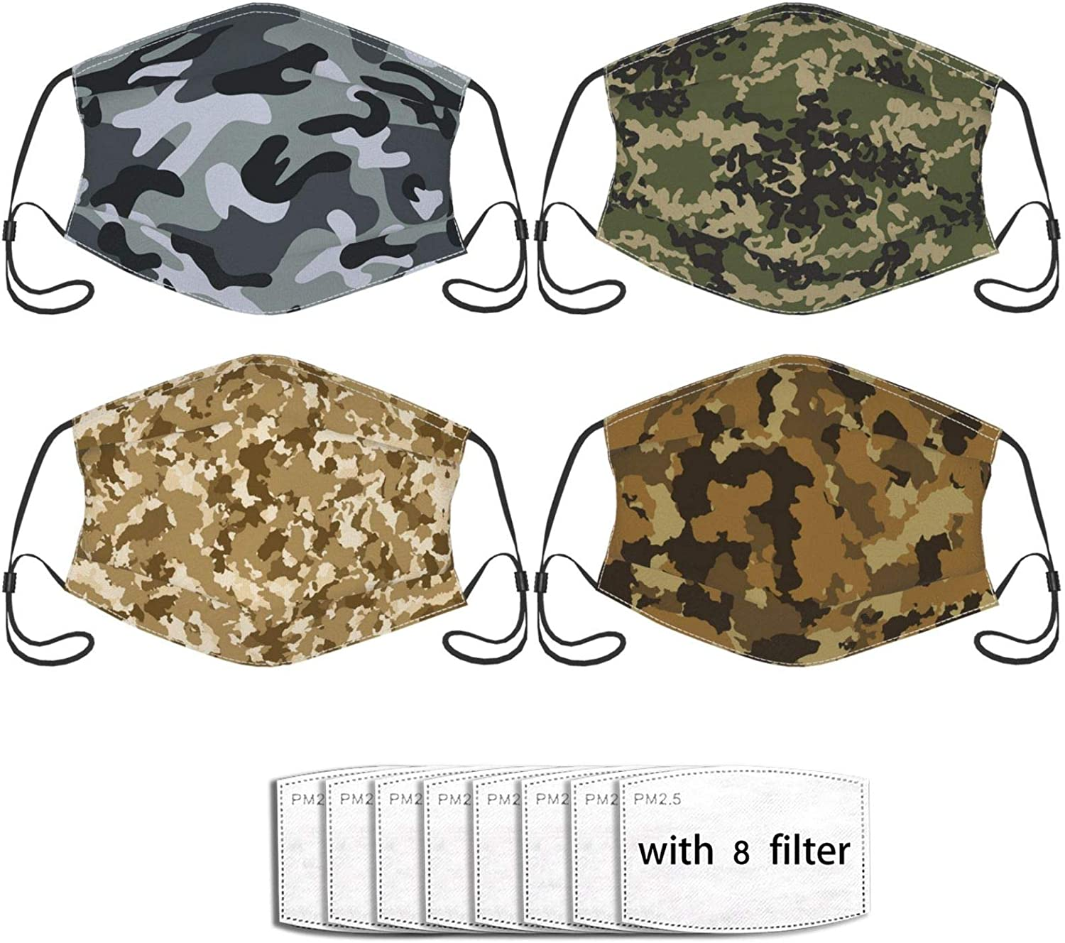4pcs Face Mask Reusable Washable Adjustable Bandanas Fashion Scarf For Adult With 8 Pcs Filters