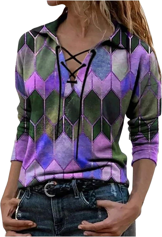 Women's Long Sleeve Tunics Color Block Print Lapel Lace Up Sweatshirt Loose Fit Tops