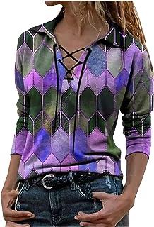 Vrouwen Tops Sweatshirts Mode Kleur Blok Print Revers Lange Mouw Bandage Blouse Losse Hoodies Oversized Tuniek Dames Kleding