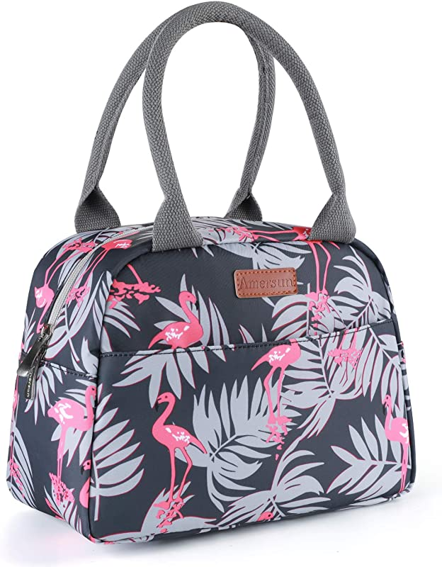 Amersun Lunch Bag For Women Sturdy Insulated Lunch Box Tote Easy Cleaning Water Resistant Lunch Cooler Snacks Organizer With Pockets For Adults Work Beach Sport Picnic Office College Flamingo