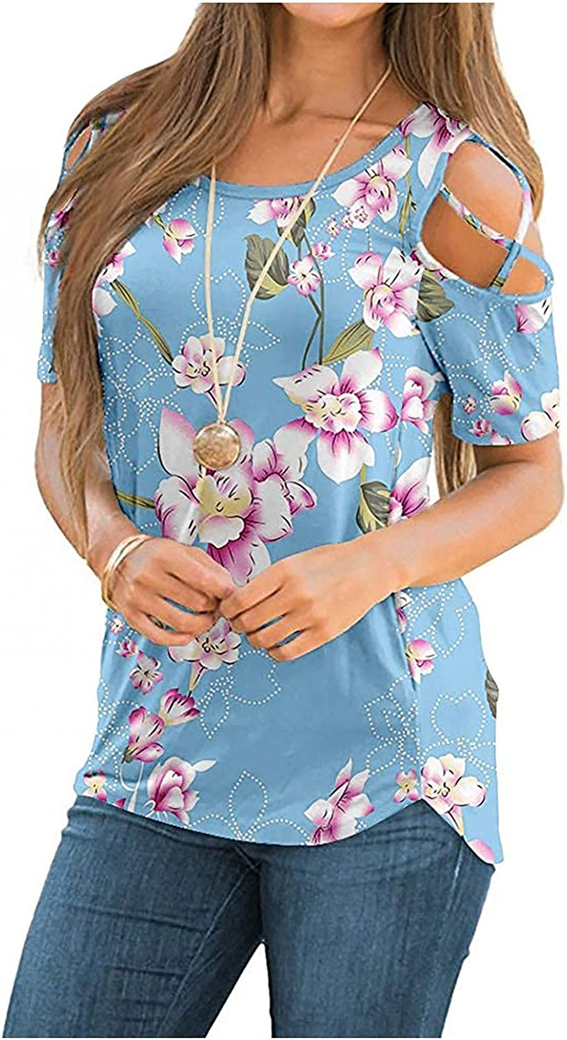 xoxing Plus Size Tops for Women Summer Floral Printing Short Sleeve Strappy Cold Shoulder Loose Tunic T-Shirts Blouses