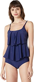Ocean Blues Women's Solid Tankini Set Flounce Tankini Top Strappy Bottom Two Pieces Swimsuit
