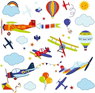 Vintage Airplanes Nursery Kids Room Peel & Stick Wall Art Sticker Decals for Babies Infants Toddlers