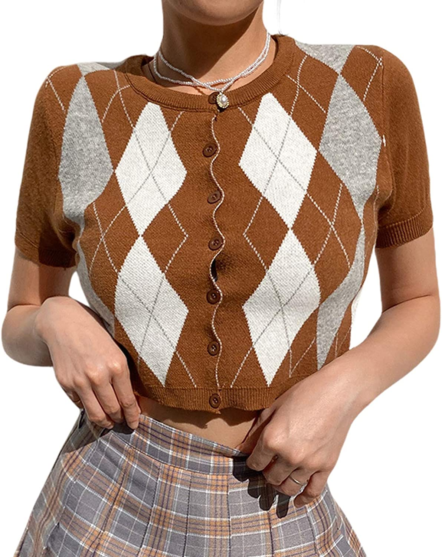 Women Argyle Plaid Cardigans Knitwear Short Sleeve V Neck Rib Knitted Crop Tops Preppy Y2K Sweater Coat