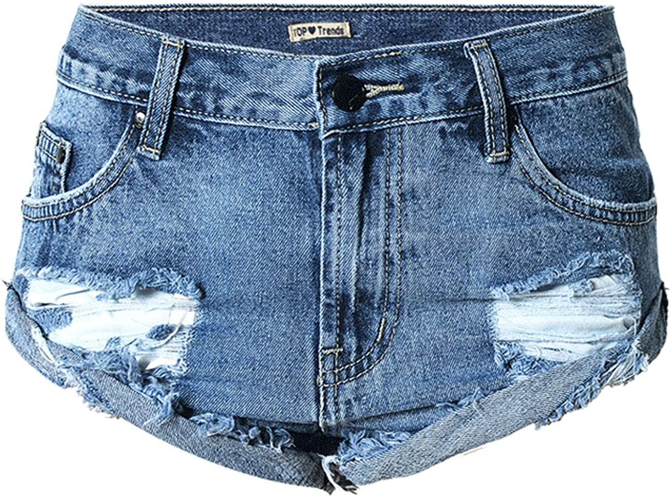 chouyatou Women's Sexy Mid-Rise Ripped Holes Folded Hem Chic Mini Denim Shorts