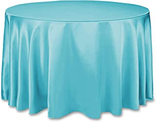 LinenTablecloth 108-Inch Round Satin Tablecloth Turquoise