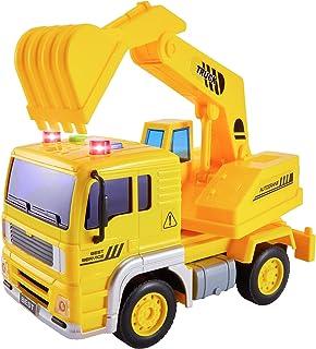 HERSITY Digger Toys Bouwvoertuigen met Lichten en Geluiden Graafmachines Vrachtwagen Auto Speelgoed Geschenken voor Kinder...