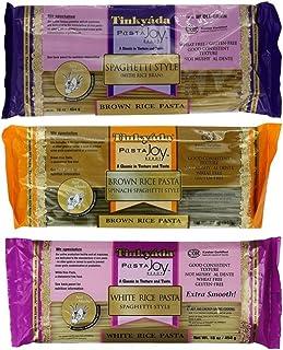 Tinkyada Gluten-Free Rice Spaghetti 3 Flavor Variety Bundle, 1 Each: Brown Rice, Brown Rice Spinach, White Rice (12-16 Oun...