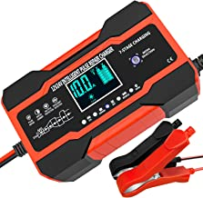 10-Amp Car Battery Charger, 12V and 24V Smart Fully Automatic Battery Charger Maintainer Trickle Charger w/ Temperature Co...