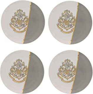 Harry Potter Plates, Set of 4 Large Dinnerware Plates – Premium Dishware For Food & Meals - Ceramic White / Grey Plate with Gold Finish Hogwarts Motto & Crest - An Ideal Magical Mealtime Present