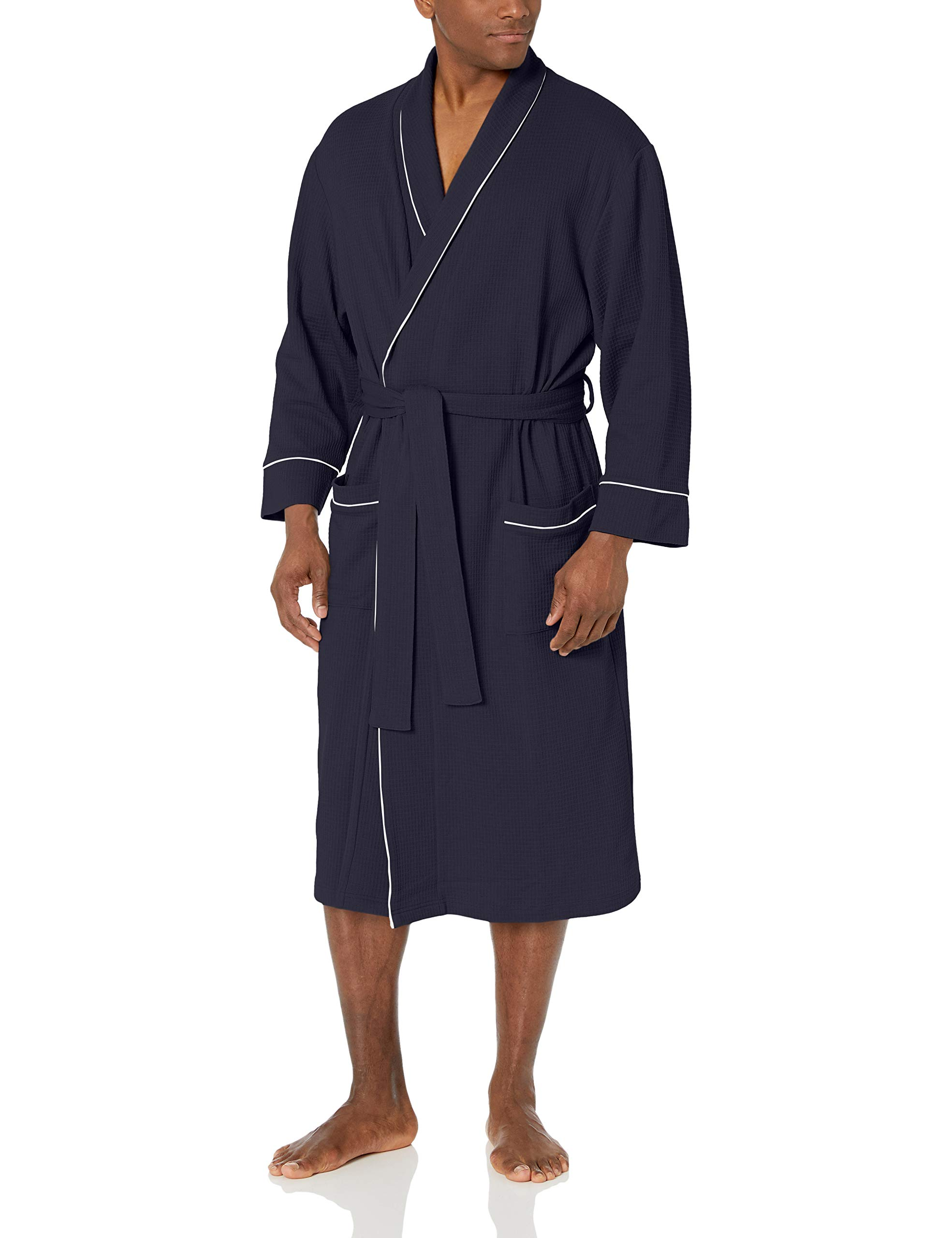 Image of Comfy Navy Blue Waffle Robe for Men - See More Colors