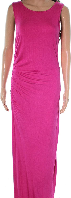 Bobeau Ruche Side Scoop Neck Women's Small Maxi Dress