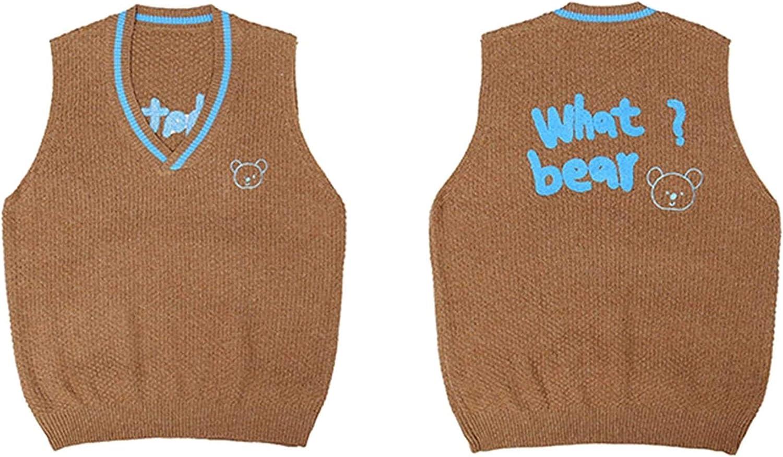 Vintage Pullover Vest Men and Women Hip Hop Bear Oversized Sweater Vest Sleeveless Pullover Vest
