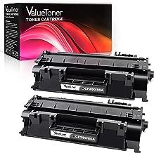 Valutoner Compatible Toner Cartridge Replacement for HP 80A CF280A 05A CE505A to use with Laserjet Pro 400 M401n, M401dn, M401dne, MFP M425dn, M425dw,Laserjet P2055DN Printer (2 Black)