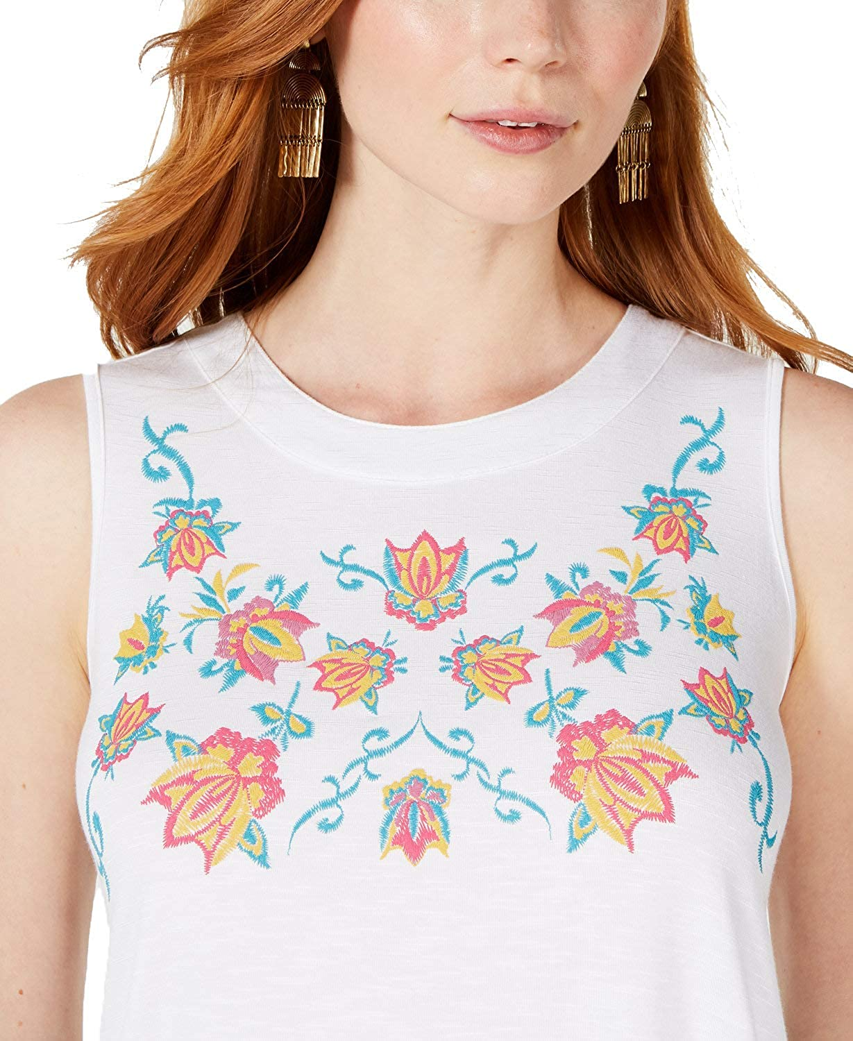 Embroidered Keyhole Top Style /& Co