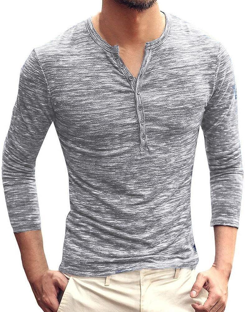 MODOQO Men's Cotton Solid Long Sleeve Henley Shirt Button Down Slim Fit T-Shirt(Gray,L)