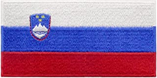 EmbTao Slovenia Flag Patch Embroidered National Morale Applique Iron On Sew On Slovenian Emblem