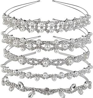 Nydotd 5 Pcs Crystal Headband, Rhinestone Crown Faux Pearl Rhinestones Tiara Headdress for Bride Bridesmaids Women Girl Hair Style Accessories Wedding Party Tiara Silver (Style Set 1)