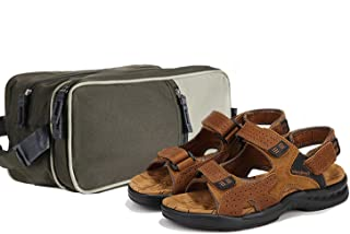 Men's Sandals Leather Open Toe Outdoor Sandals with a Toiletry Bag for Men Large Capacity