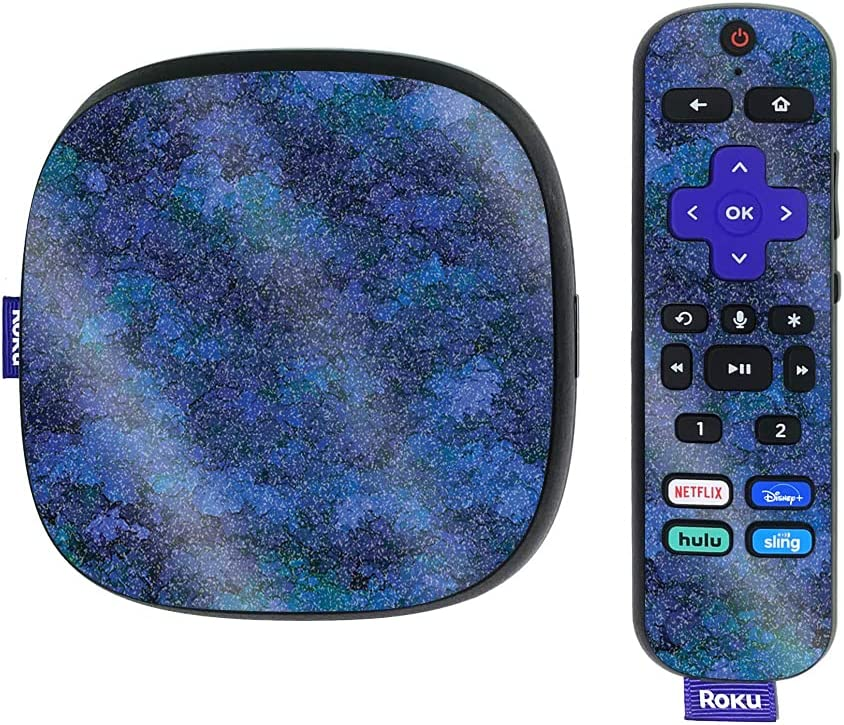 MightySkins Glossy Glitter Skin Compatible with Roku Ultra HDR 4K Streaming Media Player (2020) - Blue Ice | Protective, Durable High-Gloss Glitter Finish | Easy to Apply | Made in The USA