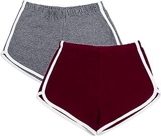 URATOT 2 Pack Yoga Short Pants Summer Running Athletic Shorts Women Dance Gym Workout Elastic Waist Shorts