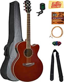Yamaha CPX600 Acoustic-Electric Guitar - Rootbeer Bundle with Gig Bag, Tuner, Strings, Strap, Picks, Austin Bazaar Instructional DVD, and Polishing Cloth
