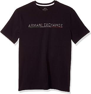 A|X Armani Exchange Men's Ax Text Logo T-Shirt with Italian Flag Color Underline