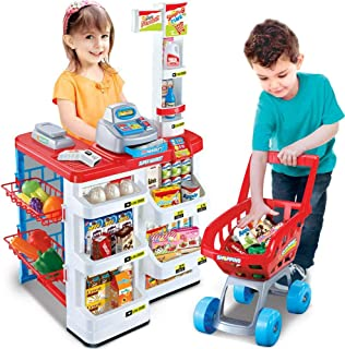 Shatchi Childrens Kids Toy Supermarket Shop Grocery Pretend Kitchen PLAYSET Light Sound