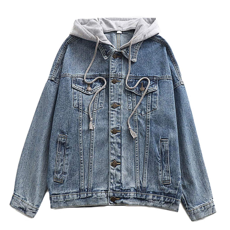 フード付きデニムジャケット - レディースカジュアルルーズ長袖ジャケットボーイフレンドデニムトップ (色 : 青, サイズ さいず : S s)
