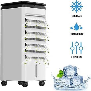 KLIM™ Fresh - Aire Acondicionado portatil y climatizador evaporativo + Refresca y humidifica el Ambiente + 3 velocidades y oscilación + Incluye depósito de Agua y Botellas congelables + Nuevo 2020