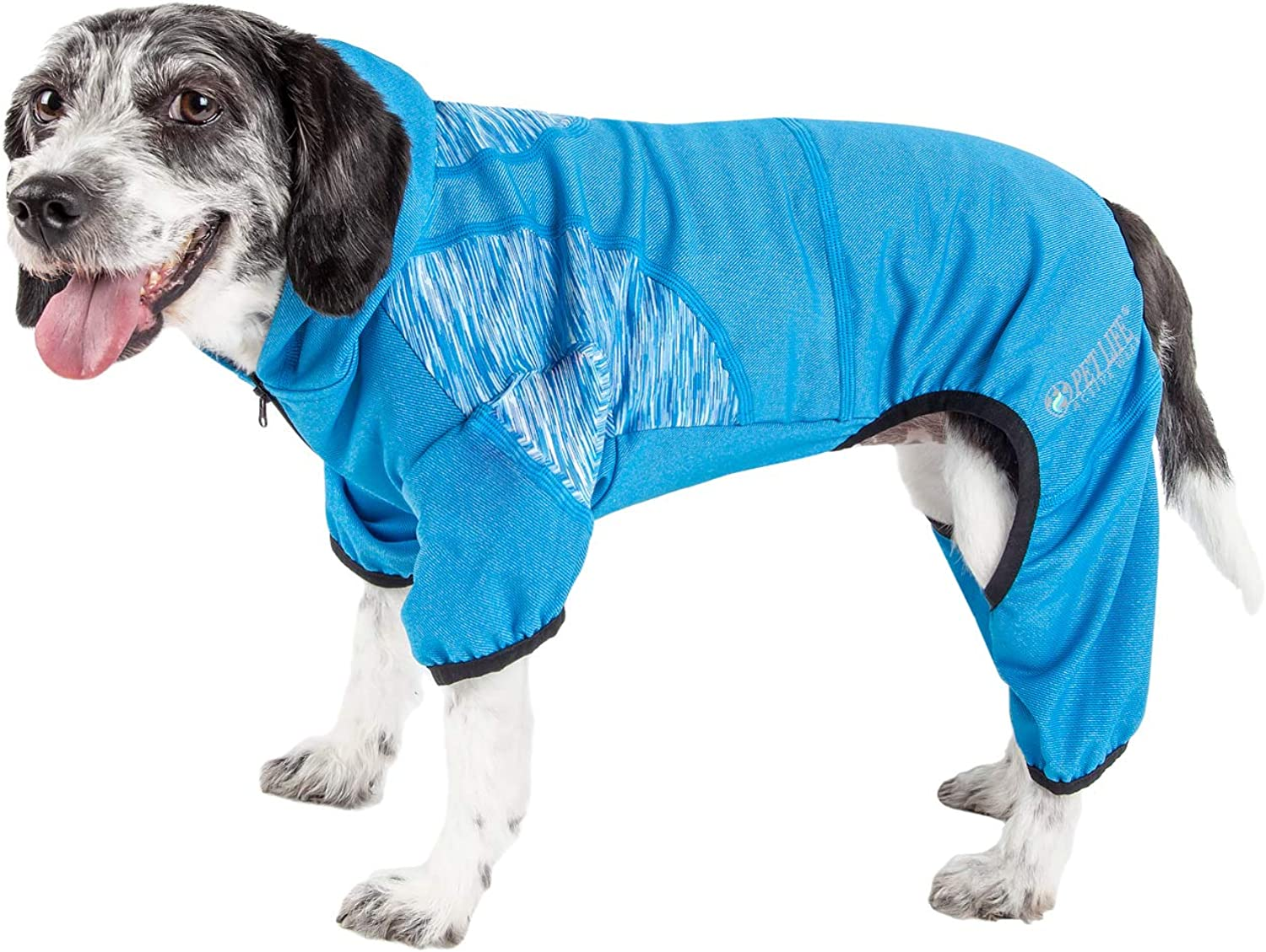 Pet Life 'Pawsterity' Heathered Performance 4Way Stretch TwoToned Full Bodied Hoodie, Small, bluee