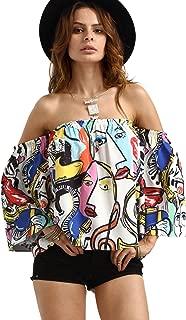 ROMWE Women's Off Shoulder Cute Loose Blouse Crop Top(One Size)