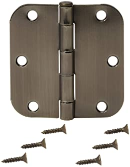 Amazon Basics Rounded 3.5 Inch x 3.5 Inch Door Hinges, 18 Pack, Antique Brass
