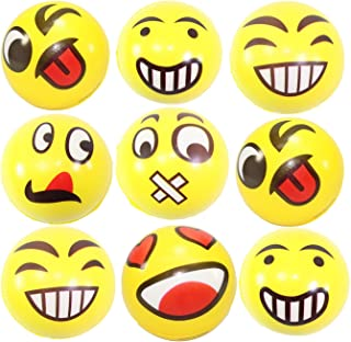 Set of 9 Assorrted Big Happy Face Hand Wrist Finger Exercise Stress Relief Therapy Squeeze Ball